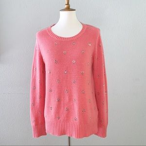 Pinkish Orange Sequin Sweater Size Medium